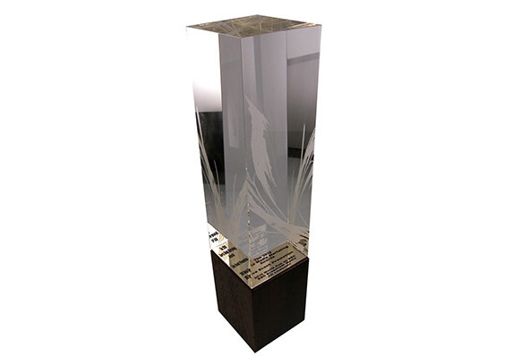 custom cut and etched crystal block with custom fitting solid wood base