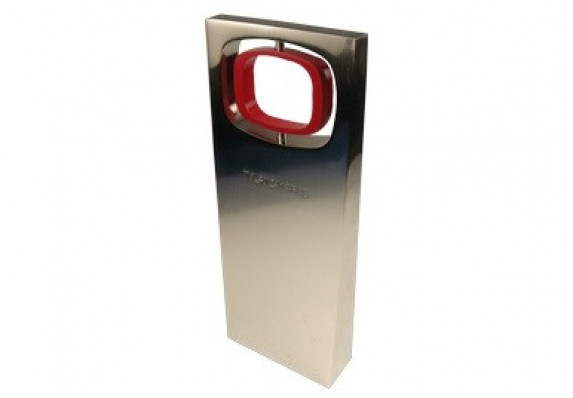 Branded custom aluminum award with cut-out area and metal logo spinner.