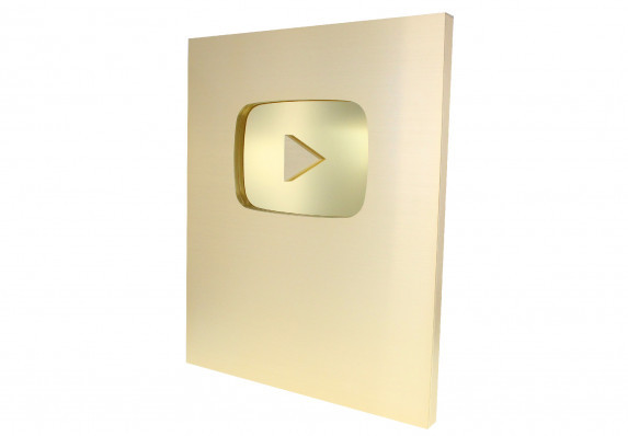 Brushed gold trophy plaque for the YouTube creator awards with contrasting, shiny recessed logo.
