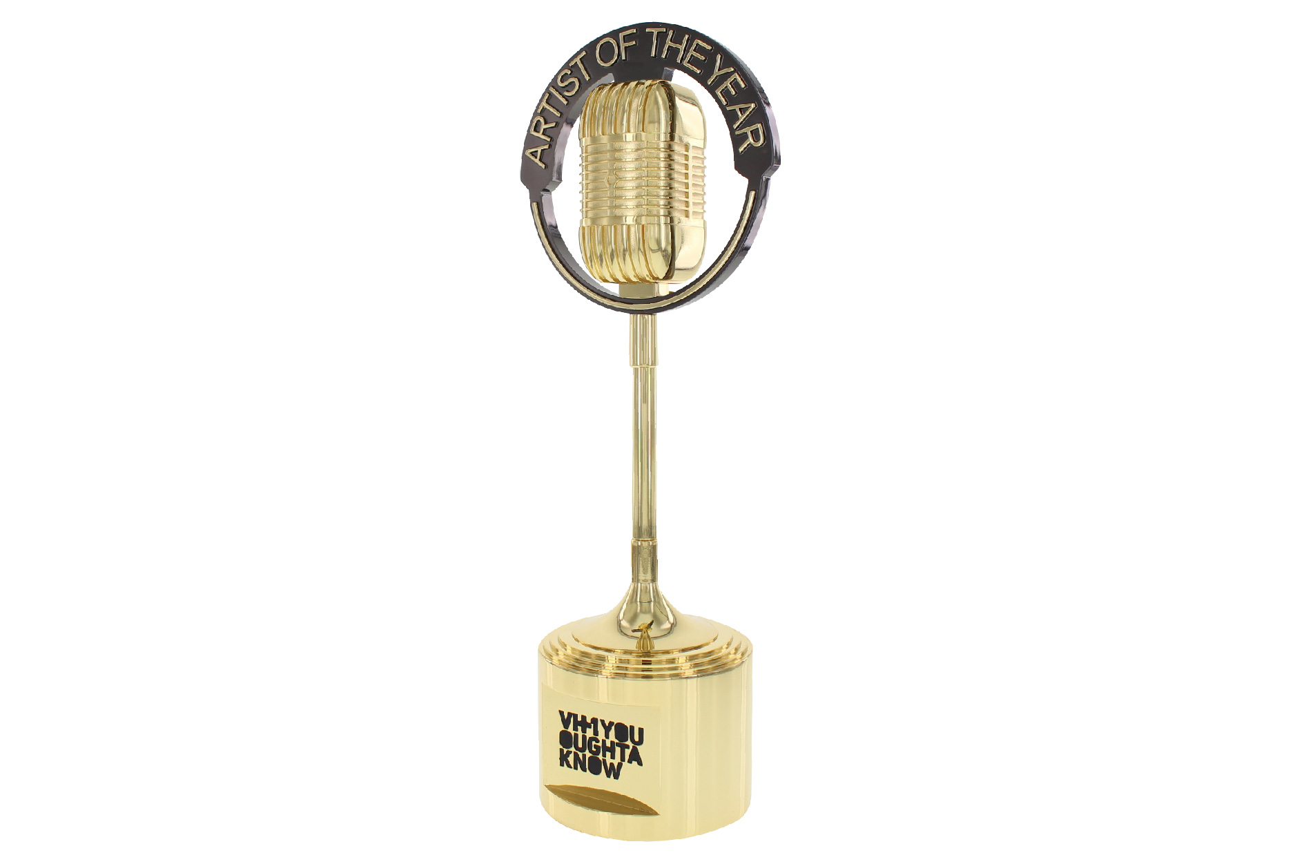 Gold Metal Microphone Trophy Presented To Artist Of The Year At Music Awards Show