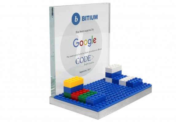 Financial deal gift plaque with etched logo and color printing. Detailed with colorful toy blocks.