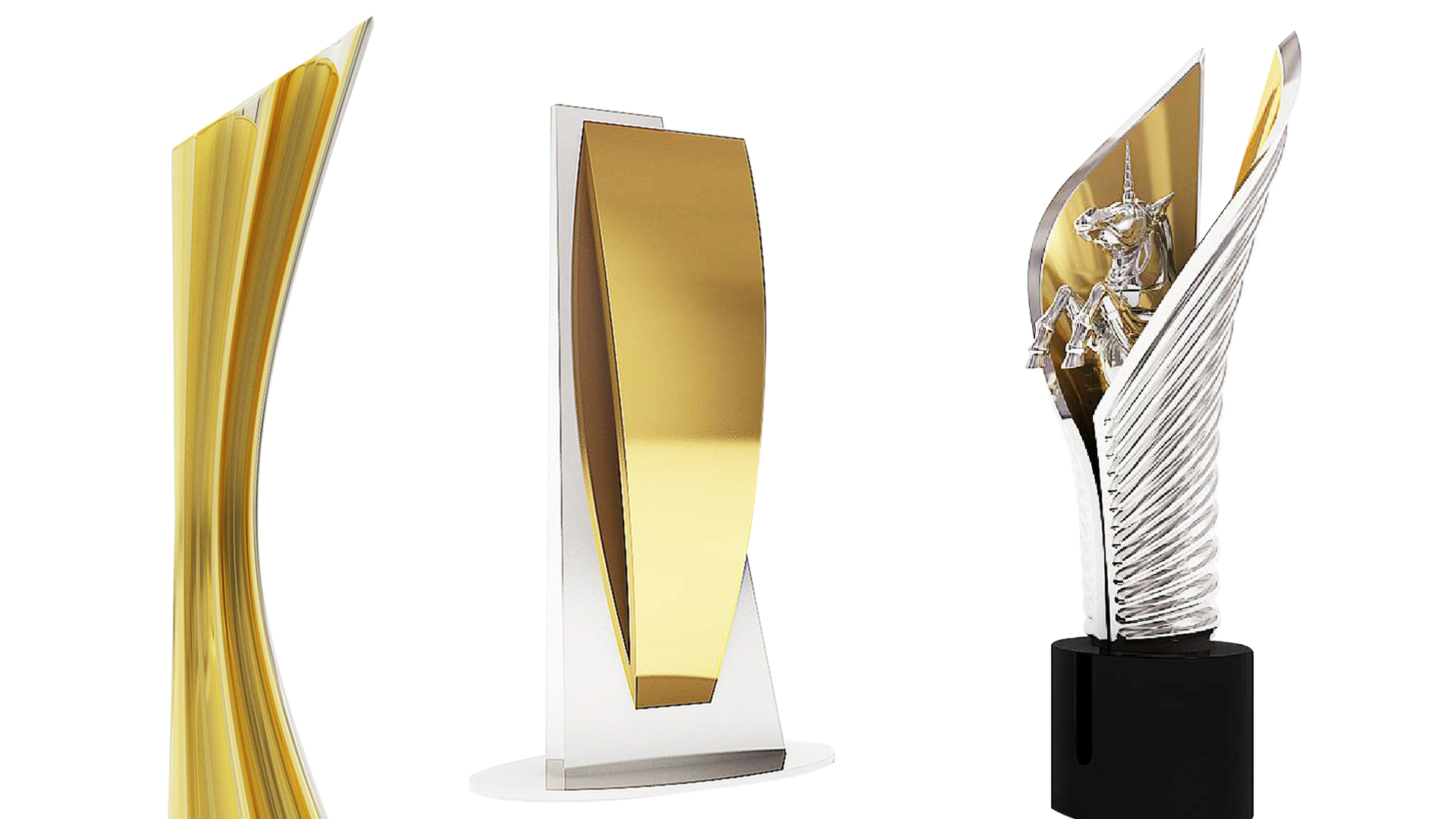 Custom trophies in gold and silver including one unicorn award statue
