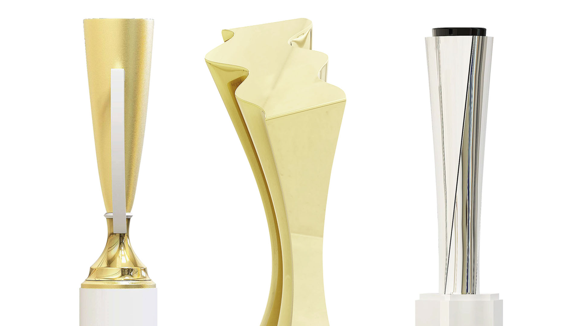 Modern metal trophies designed by Society Awards