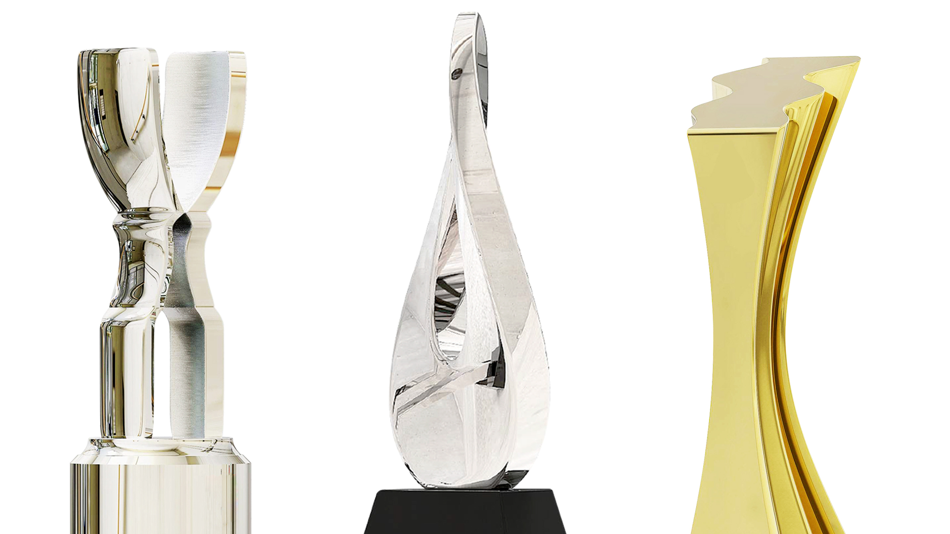 Three modern metal trophies by Society Awards