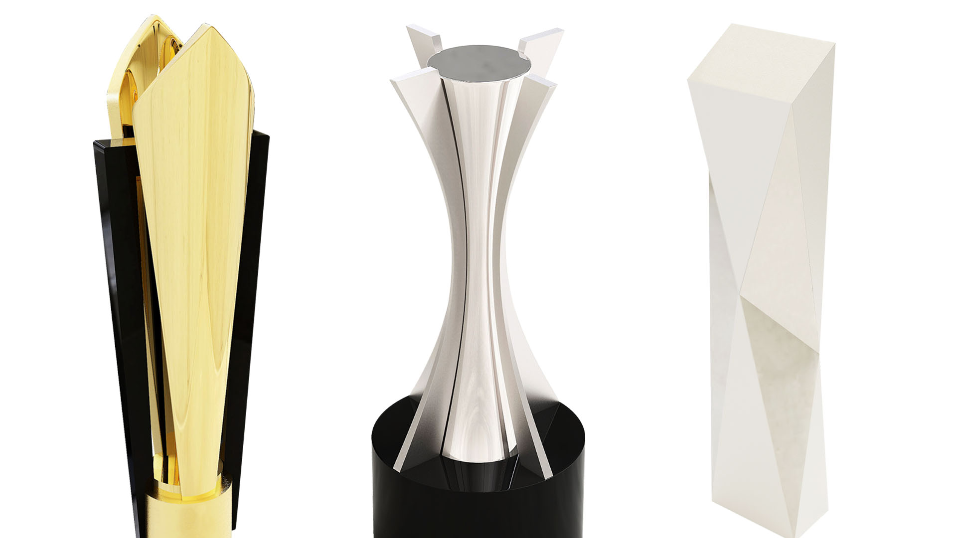 Custom gold trophy cup, silver pillar award and prismatic silver award