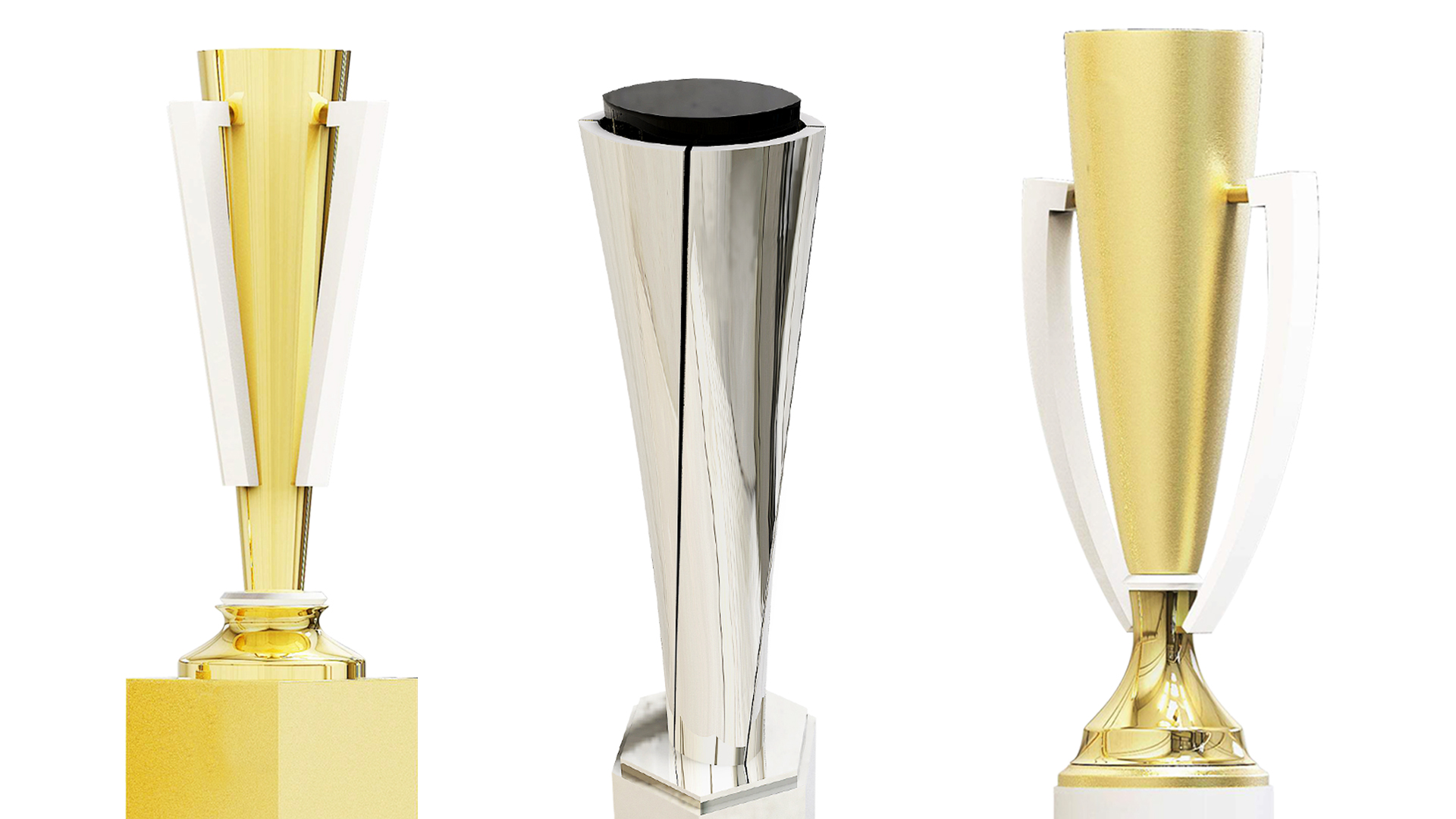 Two gold trophy cups and one silver metal award column