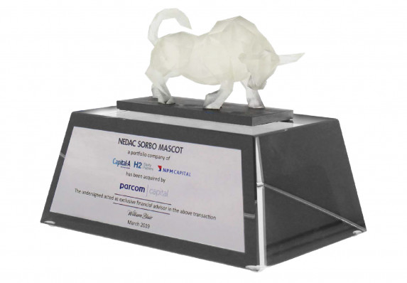 A luxury custom financial tombstone with an American made, 3D printed charging bull crafted by Society Awards Finance Group for an acquisition deal.