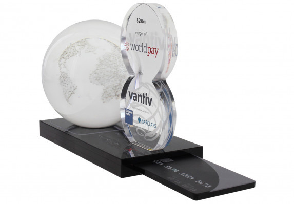 Custom crystal deal toy for a merger. Has removable credit card and 3D etched globe
