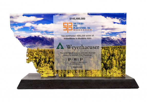 A premium acrylic deal toy crafted by Society Awards Finance Group in recognition of a large land purchase. The transaction details are presented on a reverse color printed, custom-cut plaque.